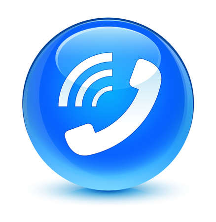 ringing: Phone ringing icon glassy blue button