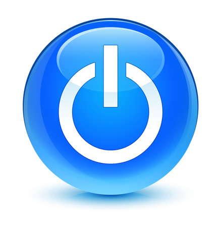 shut off: Power icon glassy blue button