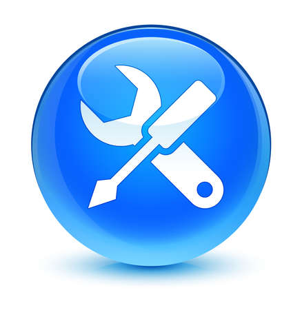 control tools: Settings icon glassy blue button Stock Photo