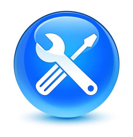 Tools icon glassy blue button photo