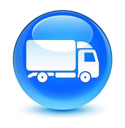 blue button: Truck icon glassy blue button