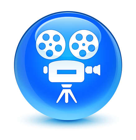 video camera icon: Video camera icon glassy blue button