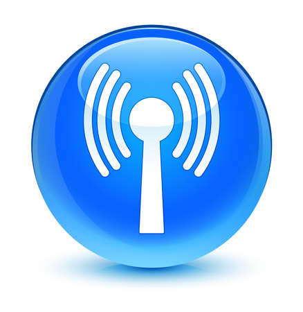wlan: Wlan network icon glassy blue button