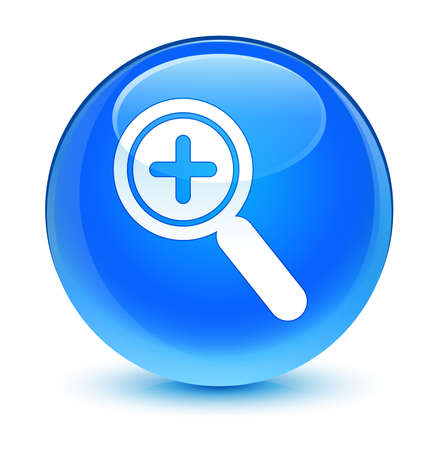 Zoom in icon glassy blue button photo