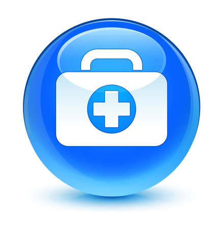 First aid kit icon glassy blue button photo