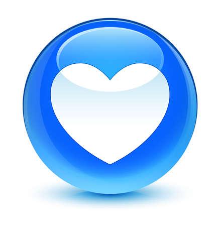 blue button: Heart icon glassy blue button Stock Photo
