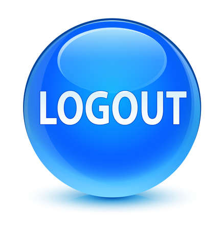 log off: Logout glassy blue button