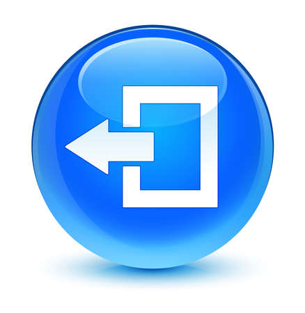 end user: Logout icon glassy blue button