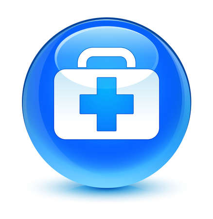 Medical bag icon glassy blue button photo