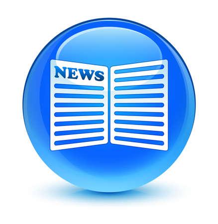newspaper icon: Newspaper icon glassy blue button