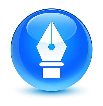 blue button: Pen icon glassy blue button