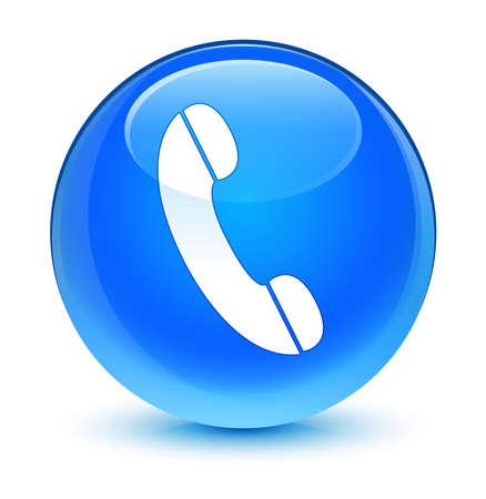 cable telefono: Icono del teléfono botón azul vidrioso