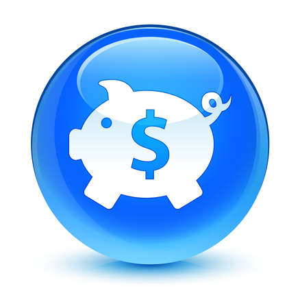economical: Piggy bank (dollar sign) icon glassy blue button Stock Photo