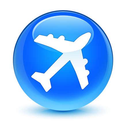 blue button: Plane icon glassy blue button