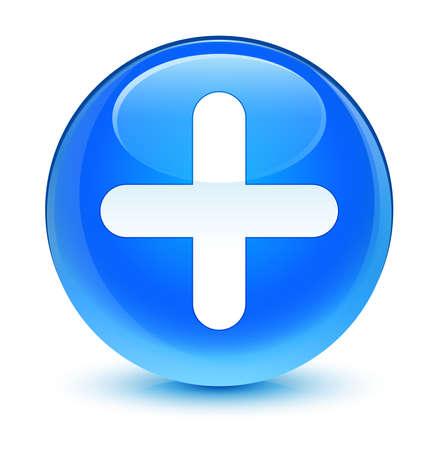plus icon: Plus icon glassy blue button