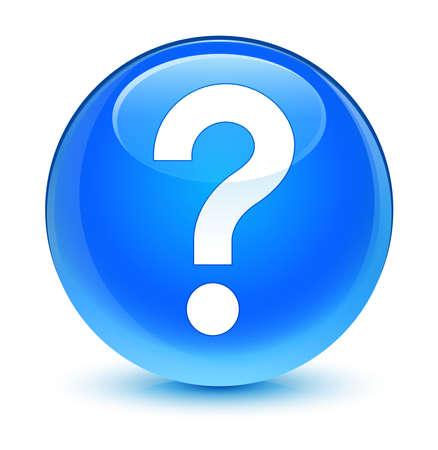 Vraagtekenpictogram glazige blauwe knop Stockfoto
