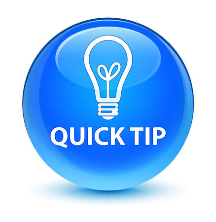 Quick tip (bulb icon) glassy blue button 版權商用圖片 - 36476017