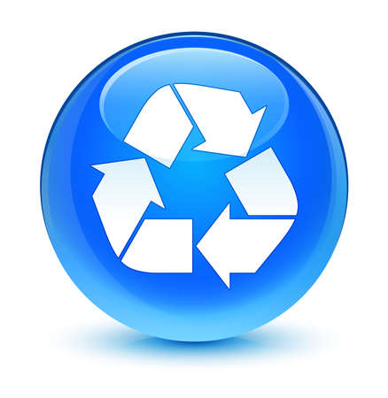 echo: Recycle icon glassy blue button Stock Photo