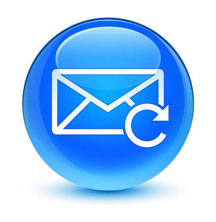 Refresh email icon glassy blue button photo
