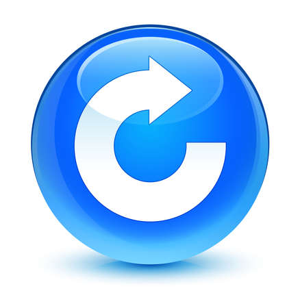 reply: Reply arrow icon glassy blue button