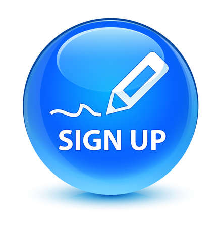 sign up: Sign up glassy blue button