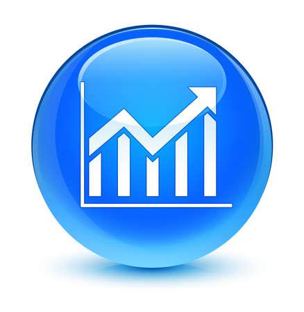 blue button: Statistics icon glassy blue button