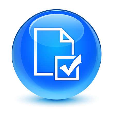 web survey: Survey icon glassy blue button Stock Photo