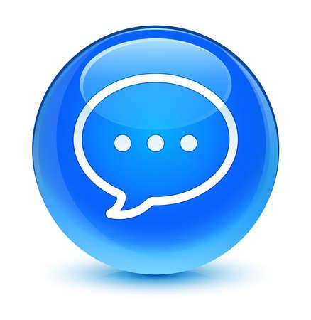 Talk icon glassy blue button photo