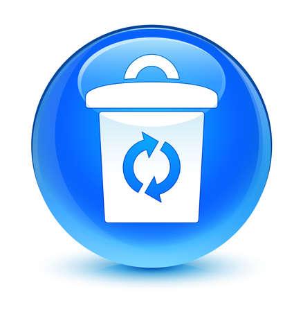 Trash icon glassy blue button photo
