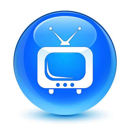 blue button: TV icon glassy blue button Stock Photo
