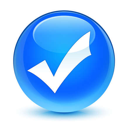 validation: Validation icon glassy blue button