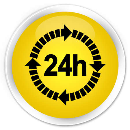 twenty four hours: 24 hours delivery icon yellow glossy round button Stock Photo