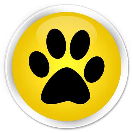 buddies: Animal footprint icon icon yellow glossy round button
