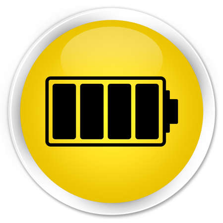 Battery icon yellow glossy round button