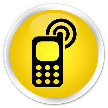 ringing: Cellphone ringing icon yellow glossy round button