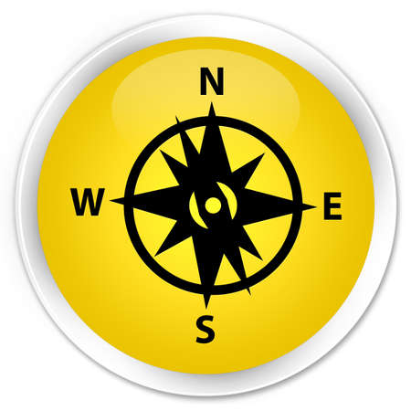 yellow adventure: Compass icon yellow glossy round button