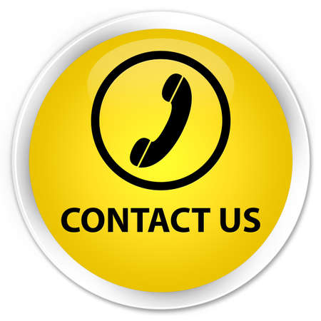 contact us phone: Contact us (phone icon) yellow glossy round button