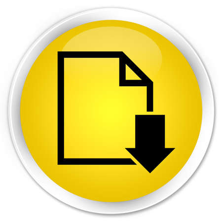 page down: Download document icon yellow glossy round button Stock Photo