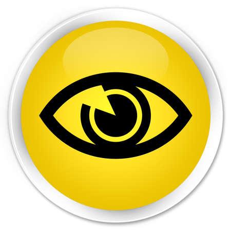 Eye icon yellow glossy round button photo