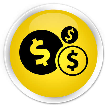 dollar sign icon: Finances (dollar sign) icon yellow glossy round button Stock Photo