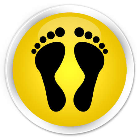 familiar: Footprint icon yellow glossy round button