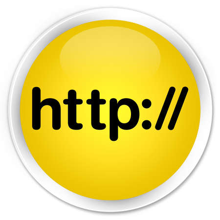 http: Http yellow glossy round button Stock Photo