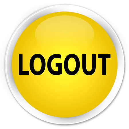 log off: Logout yellow glossy round button Stock Photo