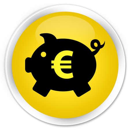 money box: Money box (euro sign) icon yellow glossy round button