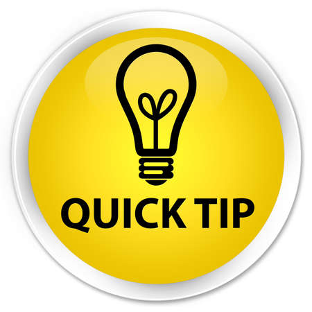 Quick tip (bulb icon) yellow glossy round button Stock Photo