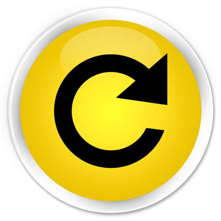 rotate: Reply rotate icon yellow glossy round button Stock Photo