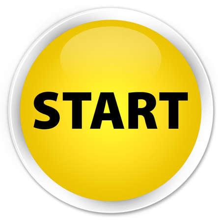 Start yellow glossy round button Stockfoto