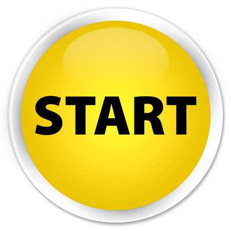 glossy: Start yellow glossy round button Stock Photo
