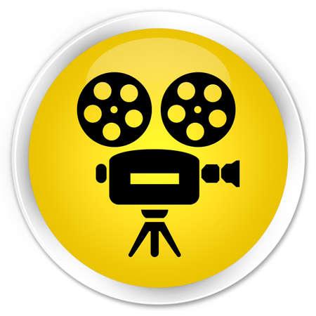 video camera icon: Video camera icon yellow glossy round button
