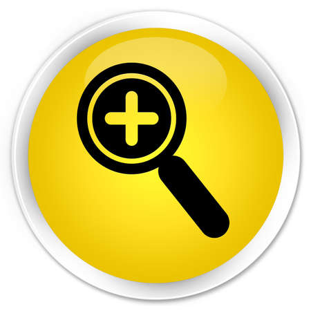 zoom in: Zoom in icon yellow glossy round button